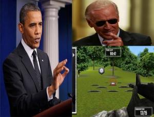 Obama And Biden Practice Range